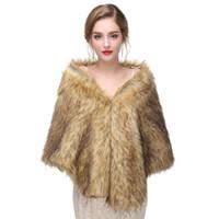gelinlik ceketleri sarar toptan satış-Gelin Sarar Beyaz Gelin Faux Kürk Wrap Shrug Çaldı Şal Pelerin Yeni Gelinlik Ceket için Geldi