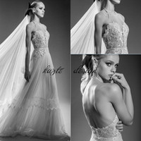 1920-е годы Vintage Lace Church Garden Wedding Dresses 2018 Lihi Hod Halter Backless Flowing Flare Skirt Beach Holiday Свадебное свадебное платье мечты