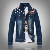 Wholesale American Flag Clothing Men - Free Shipping New American flag jeans jacket mens motorcycle short jacket vintage denim coat outerwear coats man clothes US size XXS-XL