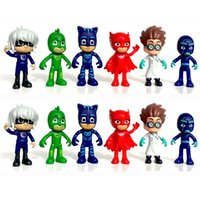 Wholesale Anime Heroes - 6pcs  Set Pj Masks Gekko Anime Figurine Brinquedo 8cm Pvc Pajamas Masked Hero Pj Mask Action Figure Toys for Boys Christmas Gift