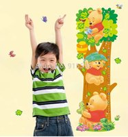 Wholesale Winnie Pooh Tree - Trees And Bear Pattern Removable Wall Winnie the Pooh Stickers Wall Children Measure Height Decals Art Decal For Children23*68cm