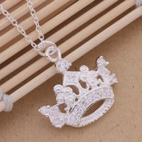 Wholesale Silver Crown Pendant Rhinestones - Free Shipping with tracking number Best Most Hot sell Women's Delicate Gift Jewelry 925 Silver Imperial crown Necklace
