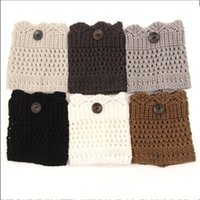 Wholesale Lace Socks For Boots Wholesale - Knitted Boots Cuffs Socks For Multi Color Lady Buttons Down Lace Leg Sleeve Comfortable Black White Gray Hot Sale 5nq C