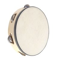 Wholesale Instrument Clapper - 2015 new arrive Toy Musical Instrument Tambourine 6 inch Hand Held Tambourine Drum Bell Birch Metal Jingles Musical Toy for KTV Party D126