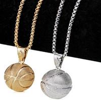 ingrosso catena d'oro di pallacanestro-Collana ciondolo basket creativo oro argento placcato catena in acciaio inox retro collana per accessori gioielli donna