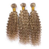 sarışın kıvırcık insan saç uzantıları toptan satış-Derin Dalga 8 613 Bleach Blonde 9A ile Orta Kahverengi Mix Saç Demetleri 300g Derin Kıvırcık Ombre Renkli İnsan Saç Uzantıları