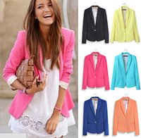 Wholesale Candy Color Jackets - 2016 blazer women candy suit blazer foldable brand jacket made of cotton & spandex with lining Vogue refresh blazers