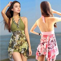 Wholesale Swimsuit Plus Sizes Free Shipping - Free shipping Women Sequins Tankini Top+Short Halter Pad Swimsuits Iregular Swimwear Plus size MSW001