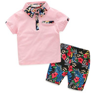 Wholesale new baby boy clothing for sale - Kids Boys Sets New Summer Baby Boy Floral Print Shirt Floral Short Pants Outfits Children Suits Children Clothes
