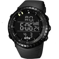 black ots - Top Brand OTS Cool Black Mens Fashion Large Face LED Digital Swimming Climbing Outdoor Man Sports Watches Christmas Boys Gift