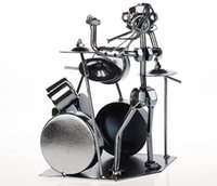 Prenda de Natal Artesanato decorativo artesanato antigo Artesanato Iron Jazz Drummer Metal Music Drum Modelo Nice Personalized Party Decoration Miniatura