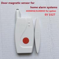 Wholesale 315mhz Window Sensors - Door window magnetic sensor, door contact 433 315MHZ EV1527 for security home alarm systems with long life battery door magnet sensor