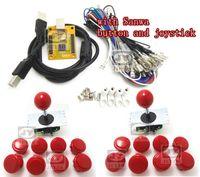 аркадный кодер оптовых-Оптовая продажа-1 комплект для Juyao Arcade to USB controller 2 игрока MAME Multicade Keyboard Encoder с джойстиком и кнопкой sanwa