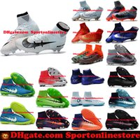 Wholesale Gold Indoor Soccer Shoes - Children Soccer Shoes Kids Soccer Cleats CR7 Cristiano Ronaldo Men Mercurial Superfly FG TF High Top Youth Boys Football Boots Women Turf