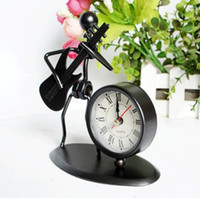Wholesale Dance Clock - Metal Craft Desk Clock Man Play Guitar Roman Numbers Clock Timer Office Desk Ornaments Business Father Boy's Birthday Gift