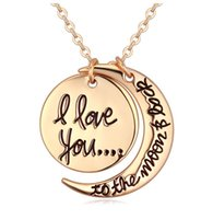 Wholesale Cheap Acrylic Necklaces - Necklaces Pendant Fashion korean Jewelry Cheap I Love You To The Moon and Back Silver Gold Necklace Lobster Clasp Pendant Necklaces