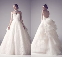 Wholesale Open Back Wedding Dresses Empire - Princess Lace Wedding Dresses Sweetheart Puffy Tulle Ruffles Bridal Gowns Custom Made Floor Length Open Back Wedding Gowns