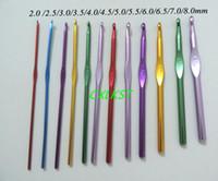 Wholesale Aluminium Needles - 12 pieces of Aluminium Multi-Coloured Crochet Hooks with Case (2mm-8mm Needle Set) Brand New Free Shipping