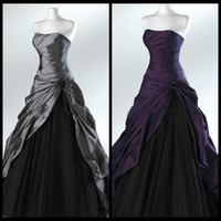 Wholesale Actual Image Ball Gown Dress - Purple And Black Ball Gown Gothic Wedding Dresses for Brides Strapless Grey Floor Length Actual Picture Bridal Gowns Vestidos de Novia 2015