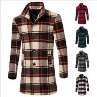 Wholesale Unique Wool Coats - Fall-Man wool plaids Coats Overcoat Unique Down Brand Wool Blends Winter mens Military pea coat Dust Mens Coats
