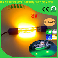 Wholesale Lure Lamp - 12V Yellow LED Fishing Lights Night Fishing Dock Lights 8W Green Blue White Attracting Fishes Lures Fake Bait China Fishing Lamp Manufactory
