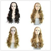 Wholesale Half Wig Hair Pieces - Hot sale 4 colors available black headband half wig 3 4 wigs for women synthetic hair wigs wavy curly hair pieces high quality