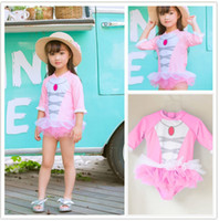 Wholesale Gauze Swimsuits - Children Swimsuit pendant Lace Kids bathing suits ruby necklace print Gauze Girls swimwear Baby Swimming One Piece pink blue C2460