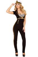 Wholesale Top Copped - 3pcs Adult Women Sexy Black Navy Short Sleeve Cop Officer Costume E8832 Halloween Sailor Suit Uniform Fancy Party Outfit Top+Pant+Cap