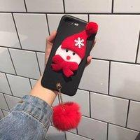 iphone cover 3d noel achat en gros de-Cas de téléphone en plastique pour iPhone 8 7 6 6 s Plus 3D cadeau de Noël Belle housse de couverture en peluche pour iPhone 8 Plus