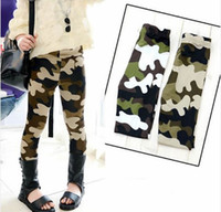Wholesale Girls Camouflage Trousers - Girls Leggings Children's Pants Stretch Camouflage Slim Legging Trousers Tenths leggings 2 Colors 5 p l