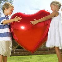 corazón rojo globos boda al por mayor-Al por mayor-75cm Rojo Rosa Corazón El amor es Shap Foil Balloons Wedding Party Love Decoracion Matrimonio Ballon Suministros Globos