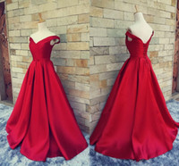Wholesale gold prom dresses - 2017 Simple Dark Red Prom Dresses V Neck Off The Shoulder Ruched Satin Custom Made Backless Corset Evening Gowns Formal Dresses Real Image