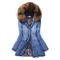 Wholesale Denim Hoodie Women - Wholesale-Women Denim Parka Coat Winter Lined Hooded Hoodie Jacket Outerwear Faux Fur Blue