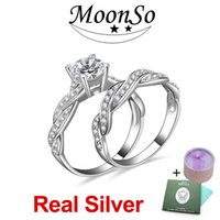 Wholesale Engagement Ring Diamond Genuine - MOONSO 925 Sterling Silver Wedding Rings Double Set Two Gifts CZ Diamond for Women Engagement Wholesale Jewelry Real Pure Genuine ZR751S
