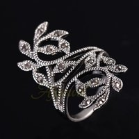 Wholesale Antique Cz Ring - FG 2014 Hot Sale Zinc Alloy Antique Silver Plated Black CZ Retro Vintage Leaf Ring For Women