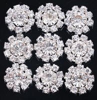 Wholesale Bling Flower Flatback - 30% off 15mm Handmade Bling flower pattern Crystal For Bridal Brooches Clear Alloy silver Rhinestone Flatback Button MF 50pcs lot