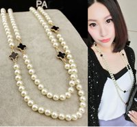 Wholesale Glass Pearl Long Chain - 3PX new fashion long faux pearl lucky clover crystal double link chain sweater necklace