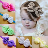 Wholesale Dots Bow Chiffon - Infant Chiffon Bow Headbands Girl Headband Children Hair Accessories Newborn Bowknot Hairbands Baby Photography Props 12 Color D169C6