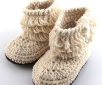 Wholesale Cute White Booties - Retail 2pairs Newborn Toddler Crochet Shoes Infant Snow Booties Baby Cute Handmade Boots Free Shipping XZ010