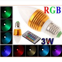 Wholesale E12 Mr16 - 3W RGB Led Candle Lights E27 E26 E14 MR16 GU10 Led Spot Bulbs Lamp RGB Colorful Led Globe Lamp AC85-265V Remote Control