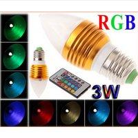 Wholesale E12 Led Globe Bulb - 3W RGB Led Candle Lights E27 E26 E14 MR16 GU10 Led Spot Bulbs Lamp RGB Colorful Led Globe Lamp AC85-265V Remote Control