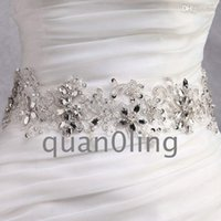 Wholesale Clear Beaded Sash - Wholesale-Free shipping 2015 Hot Wedding dress sash clear crystal beaded wedding dress waistband wedding dress belt bridal dress belts 10