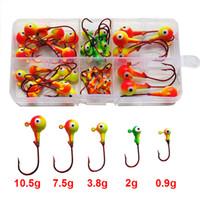 ingrosso jigs 3d-46pcs Multicolor 3d occhi di pesce Jig Head ganci da pesca in acciaio ad alto tenore di carbonio Red piombo testa esche ami da pesca Set con scatola