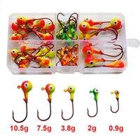 señuelos de pescado rojo al por mayor-46pcs Multicolor 3d Ojos de pez Jig Head Anzuelos de pesca de acero de alto carbono Red Head Head señuelos Anzuelos de pesca con caja