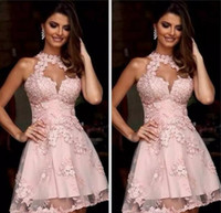 Wholesale Pink Semi Formal Dresses - Semi Formal Cocktail Dresses 2018 Illusion High Neck Blush Pink Lace Homecoming Dresses Sheer Neck Short Prom Party Gowns Sleeveless