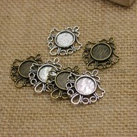 Wholesale Filigree Cabochon Settings - 30pcs Antique Bronze Metal Cameo Flowers Filigree 26*29mm (Fit 12mm) Round Cabochon Pendant Setting Jewelry Blank Findings T0220