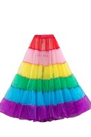 Wholesale Dress Rainbow Striped - 2015 Real Picture Vintage Rainbow Colorful Tulle Tutu Skirts For Adults Custom Made A-Line Party Prom Dresses Women Clothing