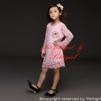 Wholesale Autum Children - Pettigirl Spring Autum Baby Girls Dresses Cute Pink Lace Princess Casual Children Dress With Flower Corsage Kids Clothes GD40209-2