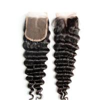 6a sınıf saç toptan satış-Orta Kısmı Ücretsiz Bölüm 3 Kısmı Dantel Derin Kıvırcık Dalga 4 x 4 Üst Kapatma Sınıf 6A Saç