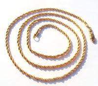 ingrosso 14k corda oro massiccio-Sottile oro 14k Overlay Fine Corda francese Lunga collana intrecciata Catena parti 100% oro reale, non solido non soldi.